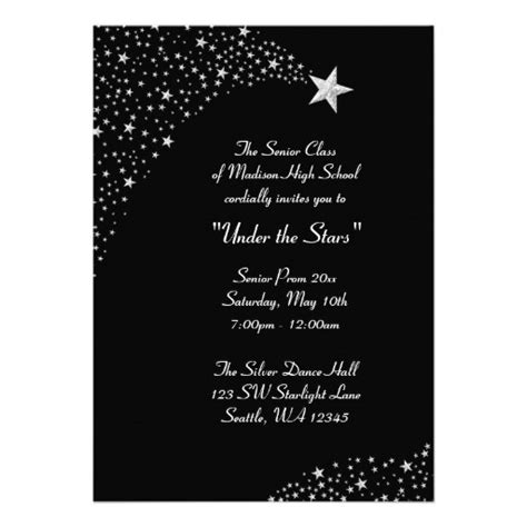 silver falling stars prom formal invitations 5 quot x 7
