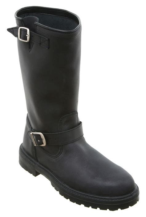 ladies black leather biker boots womens office passenger biker boot black leather boots ebay