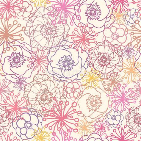 fashion elegant background with hand drawn flowers royalty subtle field flowers seamless pattern background stock