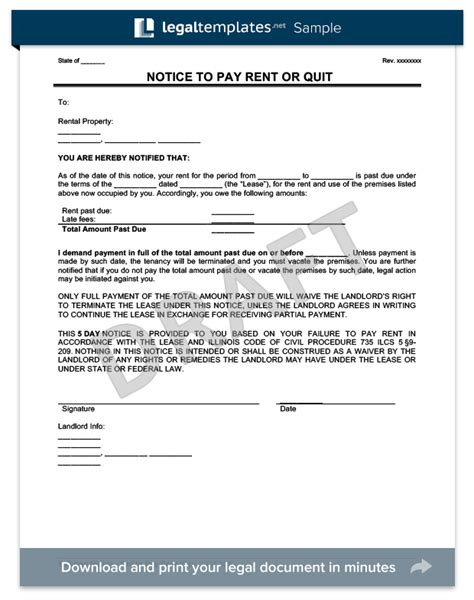 Mortgage Late Notice Letter Late Rent Notice Create A Free Notice To Pay Rent Or Quit Form