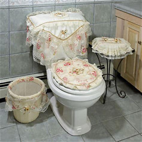 bathroom tank sets for toilet lacey linen pink flowers bathroom set toilet tank seat