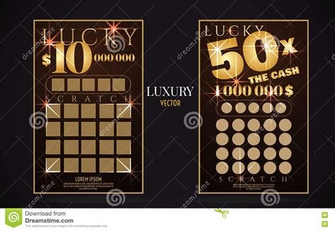 scratch card design template scratch lottery ticket vector design template stock vector