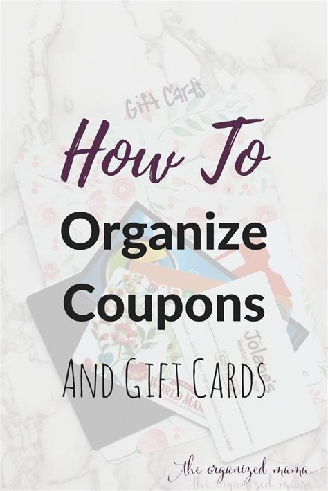 Gift Cards Coupons - how to organize coupons and gift cards the organized mama