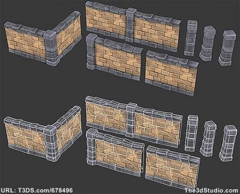 home design game levels 3d models brick wall set low poly 01 game art enviro