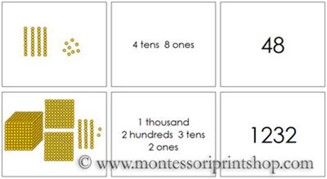 printable montessori golden beads golden bead place value cards printable montessori math
