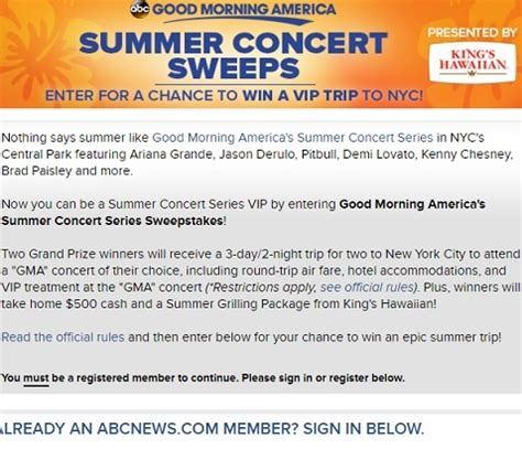 Summer Concert Sweepstakes - good morning america s summer concert series sweepstakes sweeps maniac