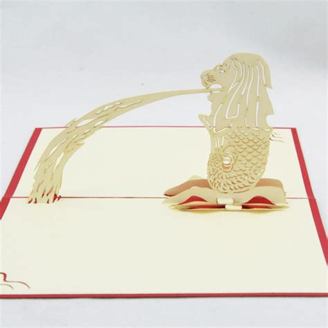Handmade Cards Singapore - aliexpress buy singapore merlion souvenir card 3d