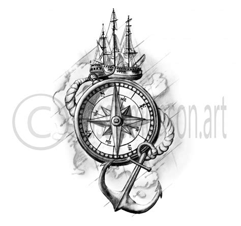 anchor compass tattoo top compass and anchor drawings images for