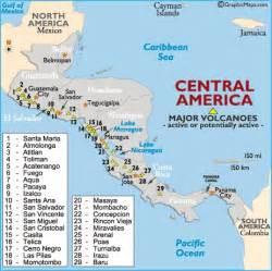 volcanoes in america map central american highlands volcano map volcanoes