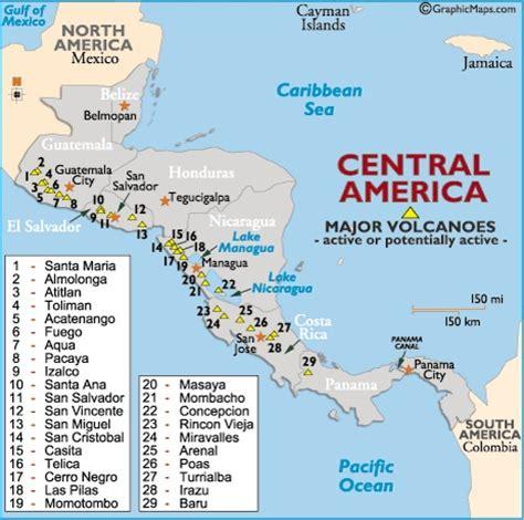 america volcano map central american highlands volcano map volcanoes
