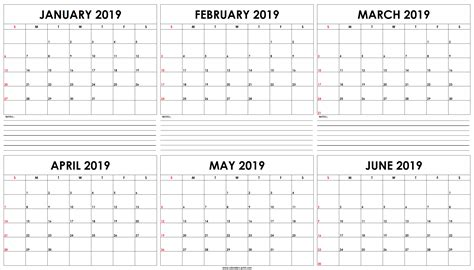 monthly january june calendar template