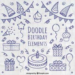 for doodle template doodle birthday elements vector free