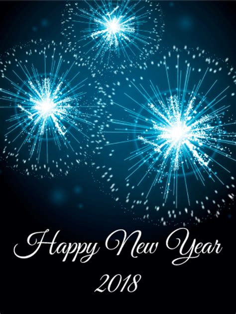 new year date 2018 blue new year fireworks card 2018 birthday greeting