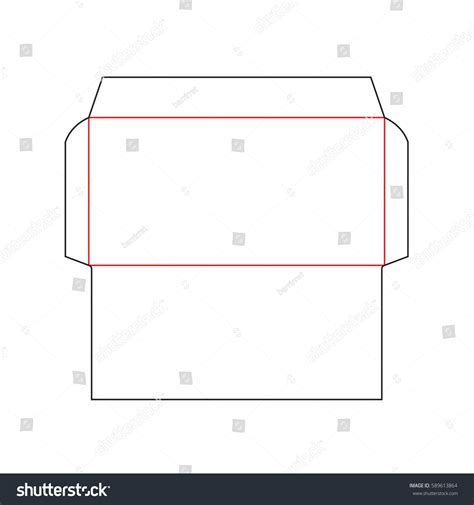 envelope pattern vector envelope dl size die cut template stock vector 589613864