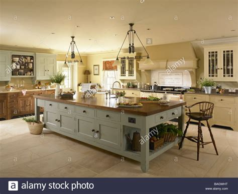large kitchen with island a large kitchen island unit stock photo royalty free