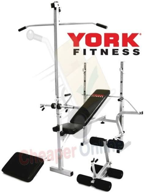 york fitness weight bench york fitness 520 weight lifting bench with lat curl for