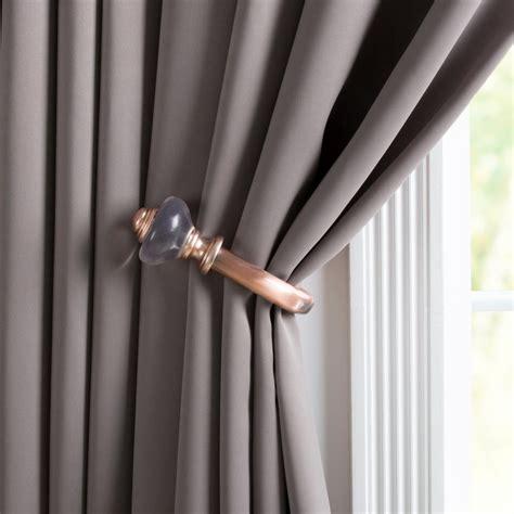curtain holdback installation lavish home resin holdback pair in copper 63 5003a c the