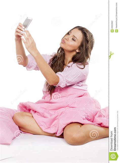 selfie in bed selfie in her bed stock photo image 63003687