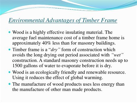 advantages of design for environment disadvantages of timber frame construction frame design