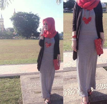 Rok Maxi Skirt Wanita Motif Bunga Morning Skirt style bergaya kasual modis dengan busana stripe ala nurin nabila tutorial pashmina by