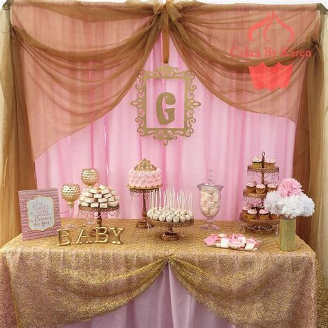 Table Baby Shower by Pink And Gold Baby Shower Baby Shower Ideas