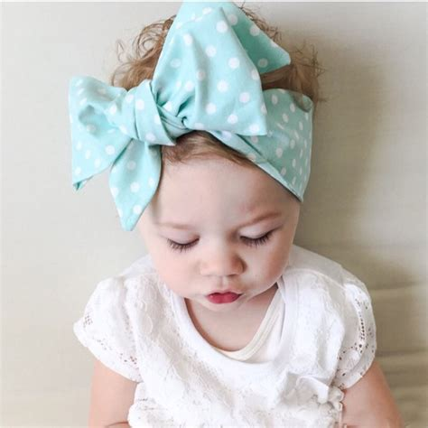 baby headbands summer dot big hair band bows wrap kawaii accessories