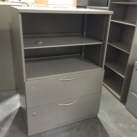 steelcase 2 drawer lateral file with bookcase pre owned