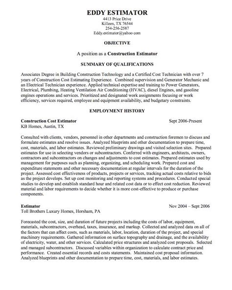 Masonry Estimator Sle Resume by Sle Resume Construction Estimator 28 Images 925 Best Exle Resume Cv Images On Sle Resume