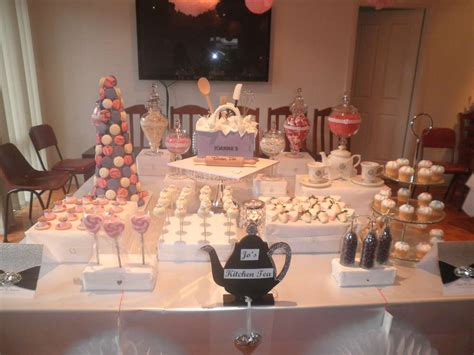 kitchen tea theme ideas pink and purple and dessert buffet bridal wedding shower ideas photo 2 of 12