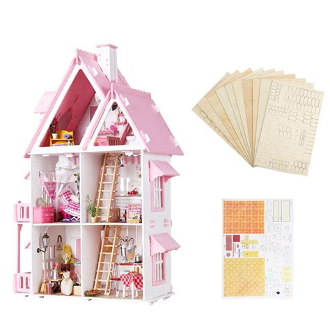 large doll house kits iiecreate large wooden kids doll house barbie kit girls play dollhouse mansion furniture alex nld