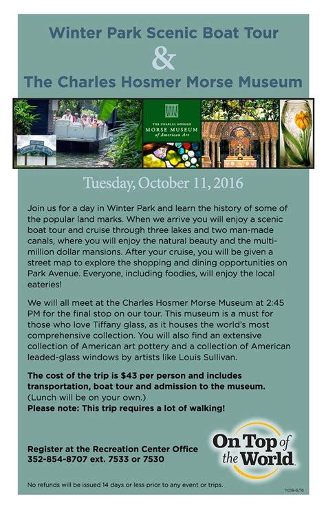 winter park boat tour schedule winter park scenic boat tour on top of the world info