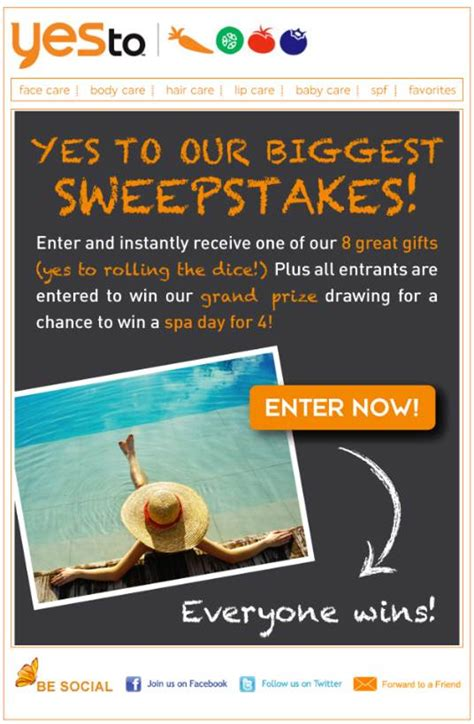 Biggest Sweepstakes - say yes to entering yes to s biggest sweepstakes yet