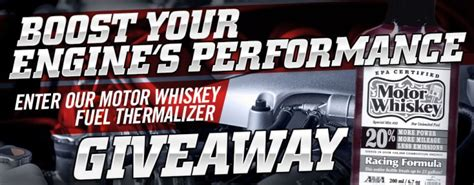 The Giveaway Newspaper - enter our giveaway for motor whiskey the engine boosting fuel thermalizer the news