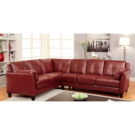 Faux Leather Sectionals by Furniture Of America Billie Faux Leather Tufted Sectional