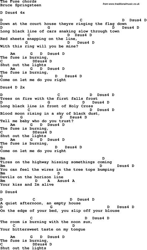 lyrics bruce springsteen song lyrics with guitar chords for the fuse bruce