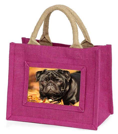 pug shopping bag black pug small pink shopping bag gift id 95171