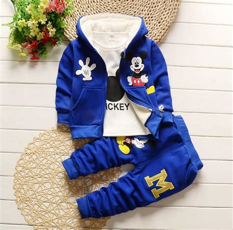 Hoodie Mickey Boy Cloth baby boy set autumn winter mickey mouse thick clothing set hooded sets toddler boy warm clothes