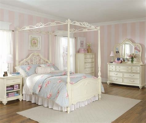 kids white bedroom set lea jessica mcclintock 5 piece canopy kids bedroom set in white beyond stores