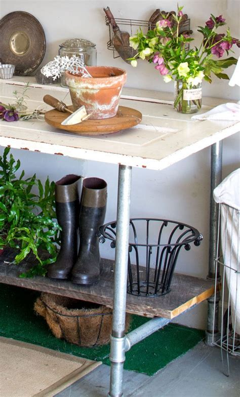 diy potting table with sink potting bench and table ideas house of hawthornes