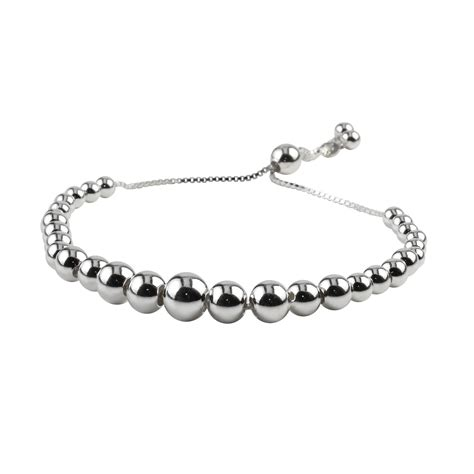 sterling silver bead bracelet graduated sterling silver adjustable bead slider bracelet