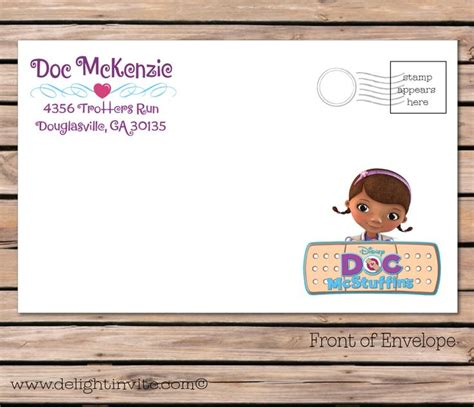 docs envelope template 411 best images about doc mcstuffins birthday on