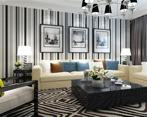beibehang wallpaper dinding  modern hitam putih garis