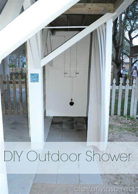 diy outdoor bathroom diy outdoor shower cleverly inspired