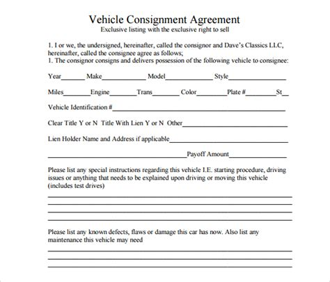 consignment agreement 11 download documents in pdf word