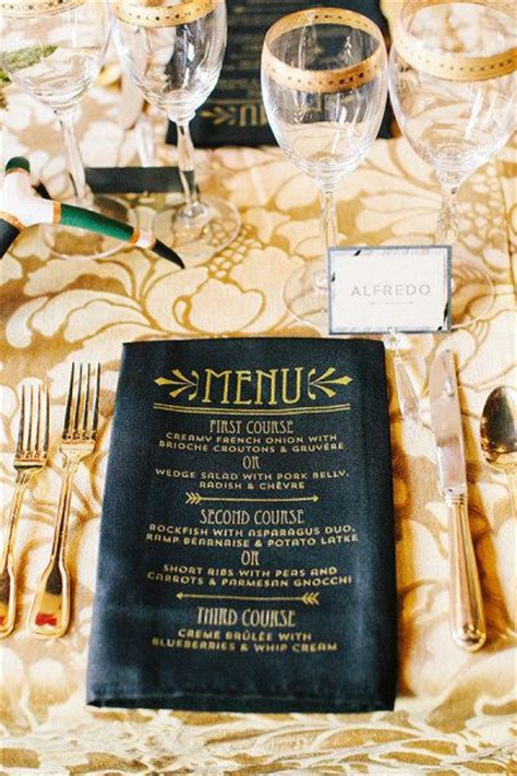 great gatsby dinner menu black work wedding gold and 1920s on