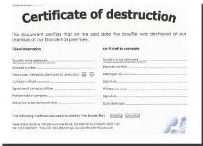 certificate of destruction template template design