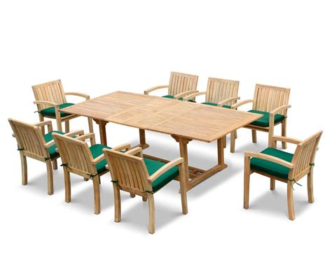Extendable Dining Sets by Dorchester Teak Extendable Dining Set With 8 Monaco