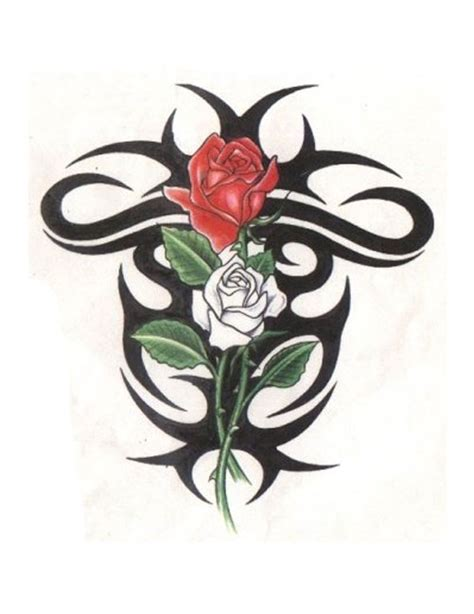 red white and blue rose tattoo tribal design around and white free