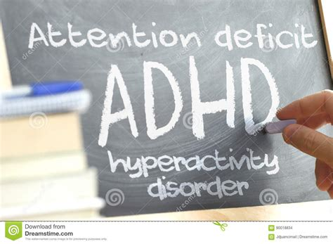 words in adhd books writing on a blackboard in a class with the word adhd