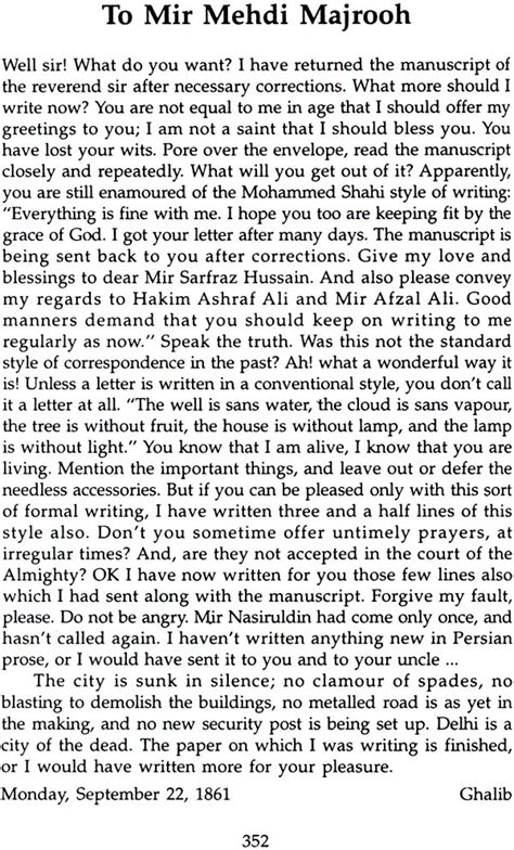 Letter To Urdu Translation mirza ghalib selected lyrics and letters urdu text